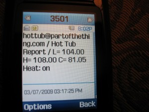 Text message from the hot tub