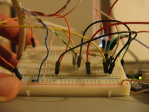 The breadboard setup for the hot tub controller