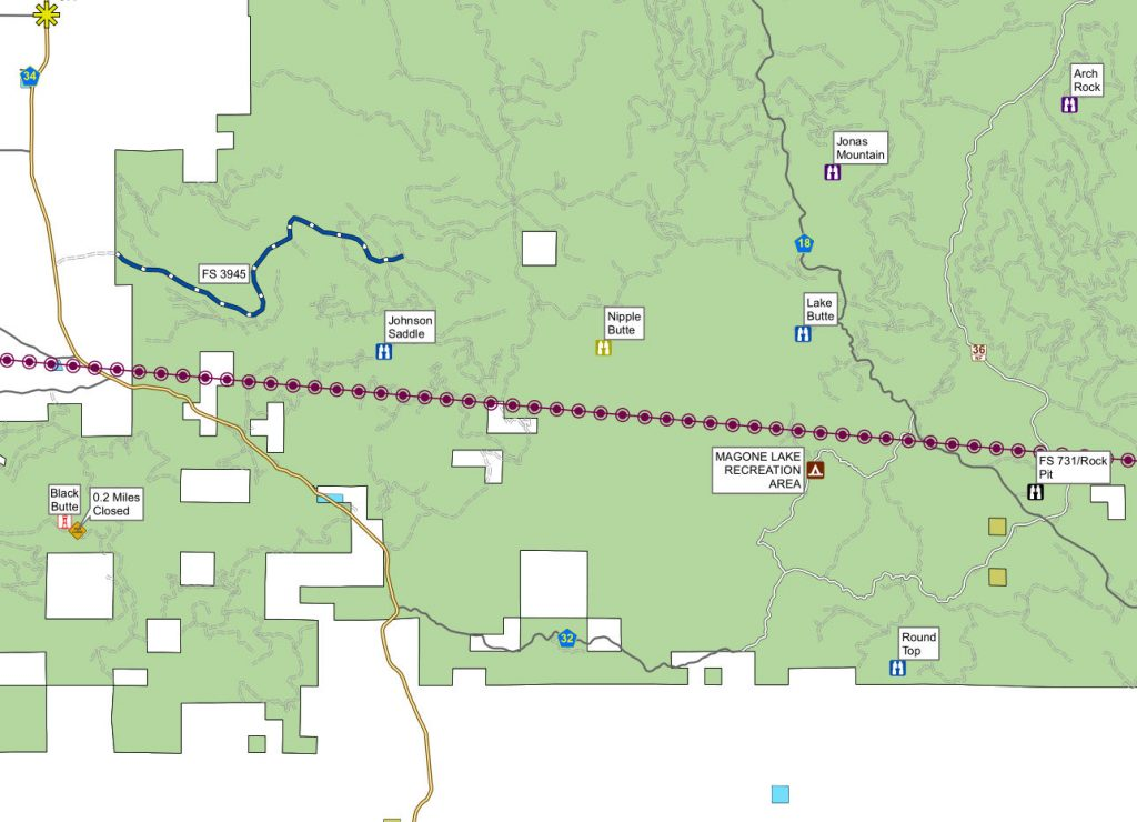 Map provided by Malheur national forest
