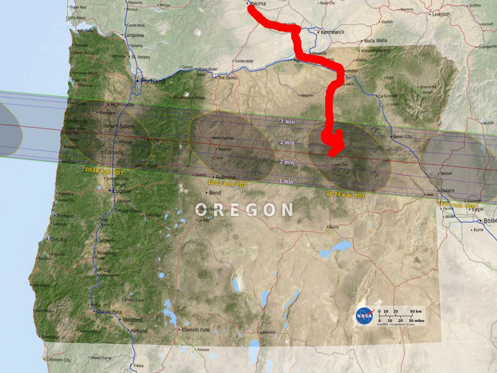 Map of oregon showing the eclipse path
